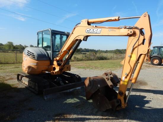 2016 Case CX55B Mini Excavator, Cab, AC, Rubber Tracks, Aux Hydraulics, Hyd