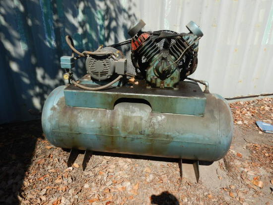 SHOP AIR COMPRESSOR,  TWIN HEAD, 10-HP ELECTRIC MOTOR