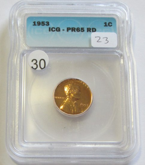 1953 RED WHEAT CENT PROOF ICG PR 65 RED