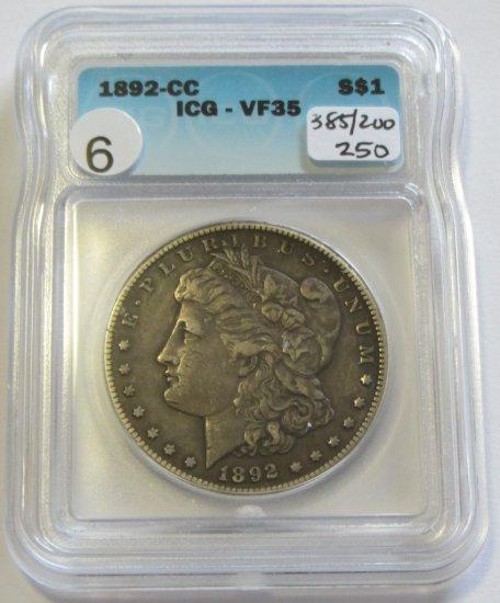 $1 1892-CC CARSON CITY MORGAN ICG VF35