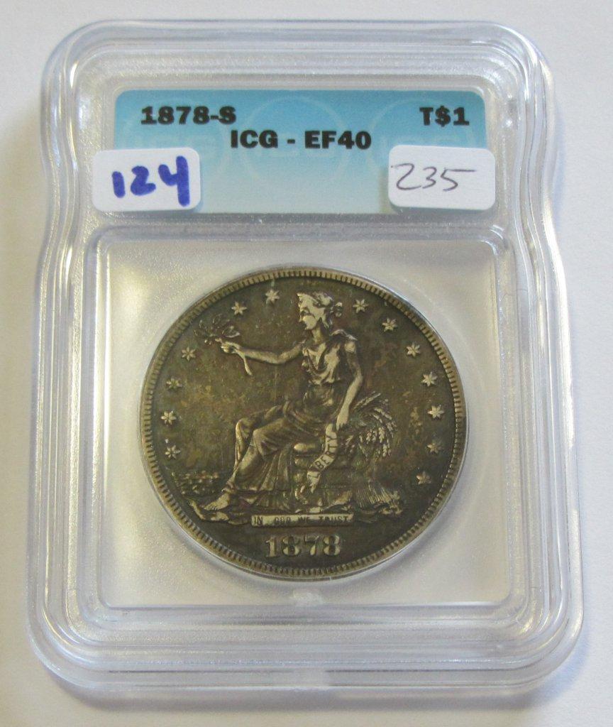 $1 1878-S TRADE DOLLAR ICG XF 40