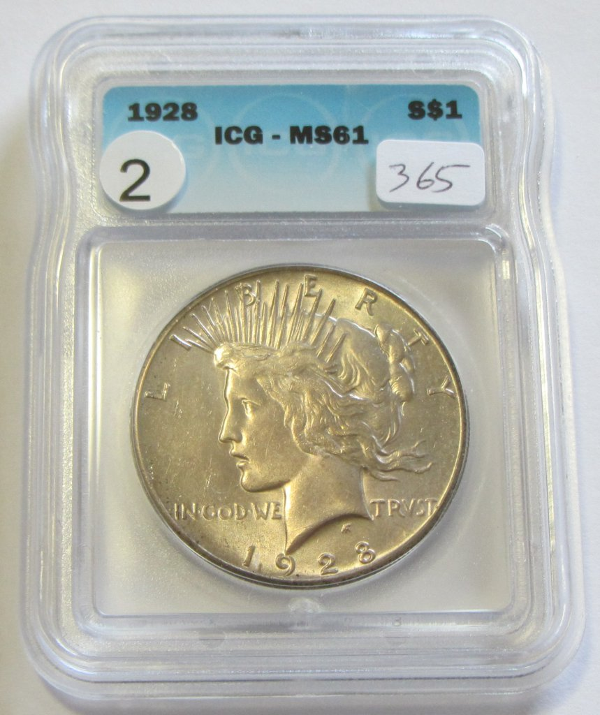 KEY $1 1928 PEACE SILVER DOLLAR ICG MINT STATE 61