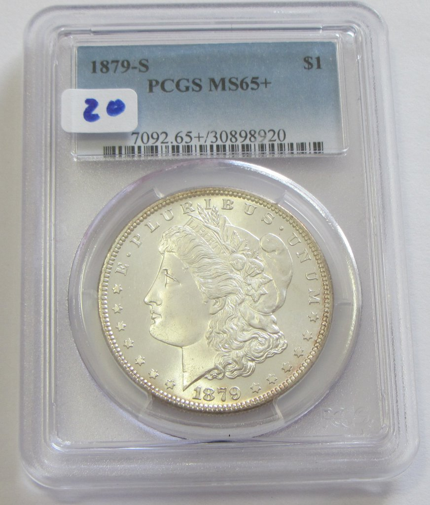 $1 1879-S MORGAN GEM PCGS 65 PLUS COULD 66