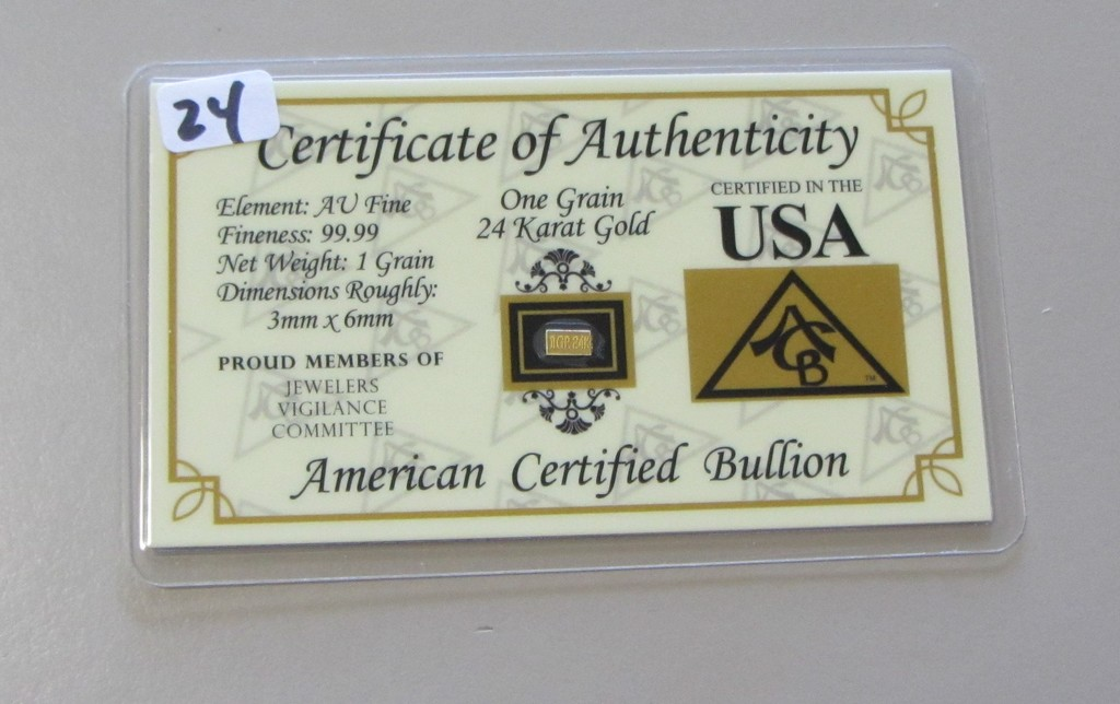 Pure 24 Karat Gold 1 Grain Sealed Bar