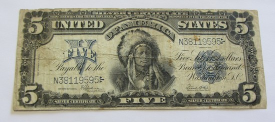 HIGHLY COLLECTED $5 1899 CHIEF SILVER CERTIFICATE