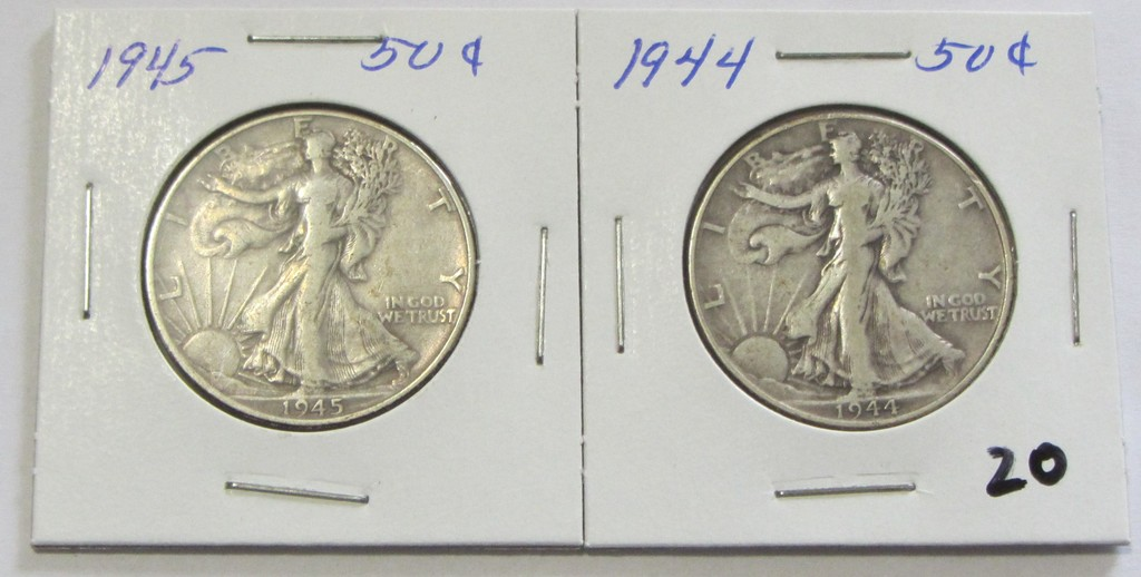 Lot of 2 - 1944 & 1945 Walking Liberty Half Dollar