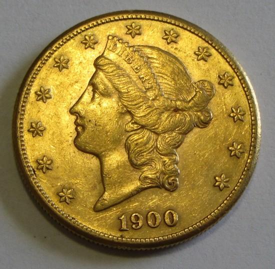 $20 GOLD DOUBLE LIBERTY EAGLE 1900