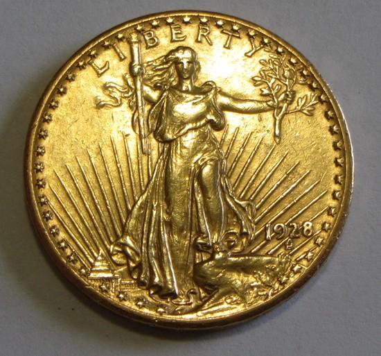 $20 GOLD SAINT GAUDENS DOUBLE EAGLE 1928