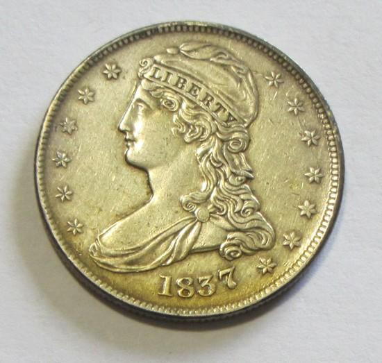 HIGH GRADE 1837 BUST HALF MARK ON REVERSE BID IS $335 IN XF