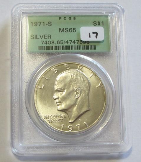 1971-S SILVER $1 IKE OGH PCGS 65