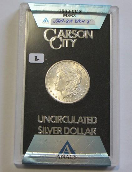 $1 1883 CC CARSON CITY MORGAN ANACS MS 63 VAM 8A DASH 8