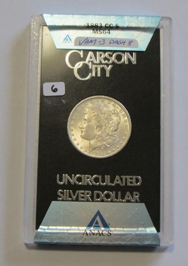 $1 1883 CC CARSON CITY MORGAN ANACS MS 64 VAM 8A DASH 8