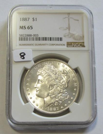 $1 1887 MORGAN NGC GEM MS 65 BLAST WHITE