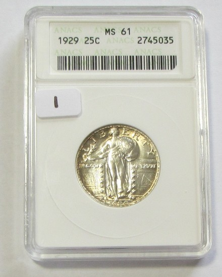 STUNNING 1929 STANDING LIBERTY QUARTER ANACS MS 61 UNDERGRADED