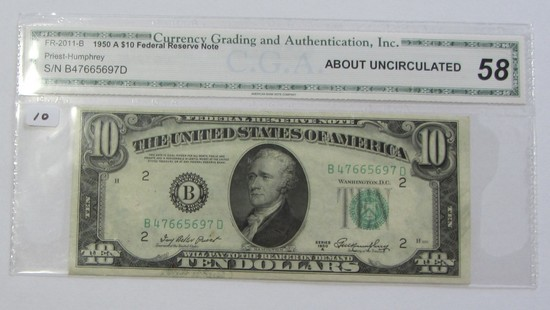 $10 1950-A FEDERAL RESERVE NOTE AMOST UNC