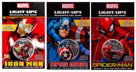 VERY NEAT LIGHT UP COINS FIJI HALF DOLLAR MARVEL SPIDERMAN IRONMAN CAPTAIN