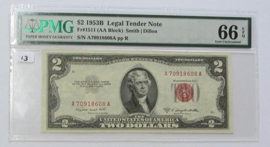 $2 1953-B RED SEAL PMG GEM 66 EPQ