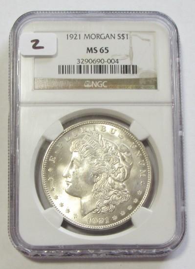 $1 1921 MORGAN NGC MS GEM 65