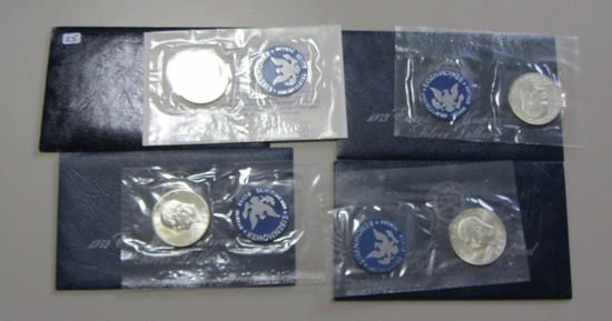 1971 1972 1973 1974 SILVER $1 IKE BLUE PACK LOT