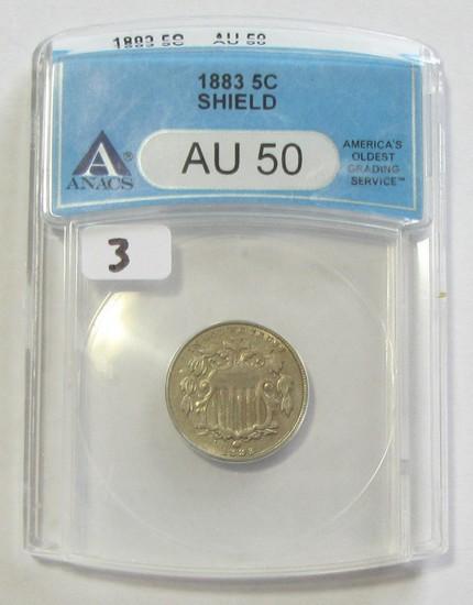 1883 SHIELD NICKEL ANACS AU 50