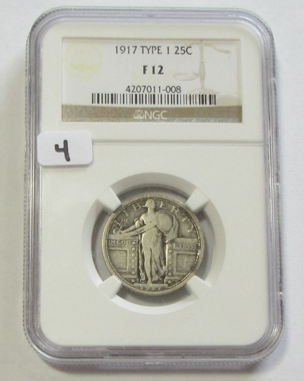 1917 TYPE 1 STANDING LIBERTY QUARTER NGC FINE 12
