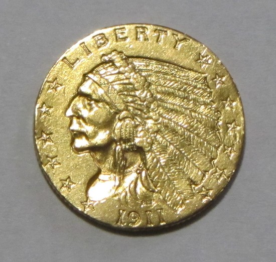 $2.5 GOLD QUARTER EAGLE INDIAN CLEANED 1911