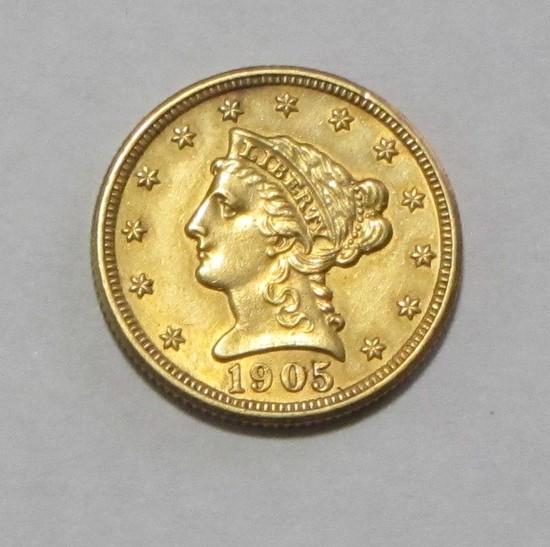 SHARP $2.5 1905 GOLD QUARTER EAGLE