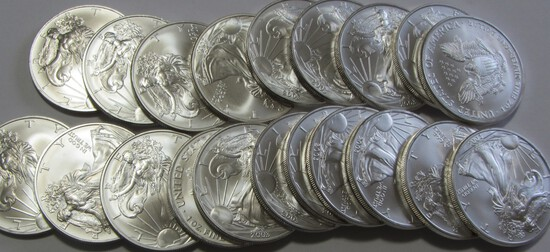 ROLL OF SILVER EAGLES BU 20 COINS TOTAL DATED 2013 PICTURE IS A STOCK PHOTO