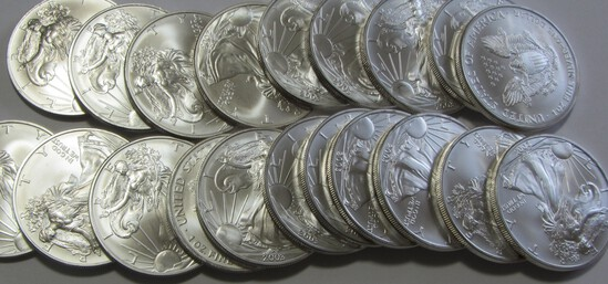 ROLL OF SILVER EAGLES BU 20 COINS TOTAL DATED 2011 PICTURE IS A STOCK PHOTO