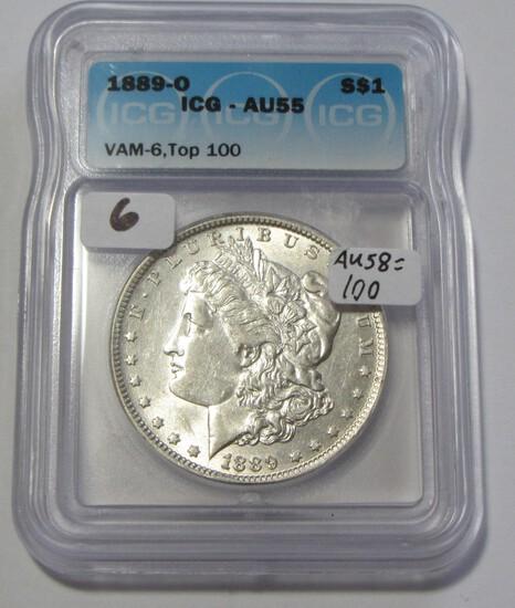 $1 1889-O MORGAN VAM 6 TOP 100 ICG AU 55