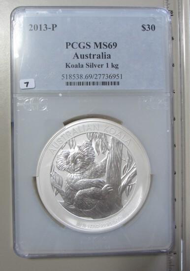 HUGE KILO 2013 $30 SILVER 35.274 OUNCES AUSTRALIA KOALA PCGS MS 69 SMALL CR