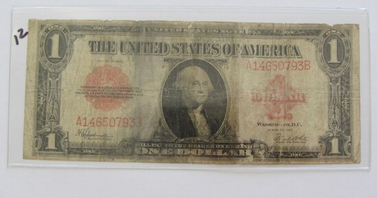 1923 $1 RED SEAL LEGAL TENDER ONE YEAR TYPE