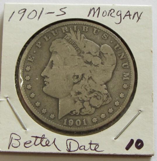 $1 1901-S MORGAN SILVER DOLLAR BETTER DATE