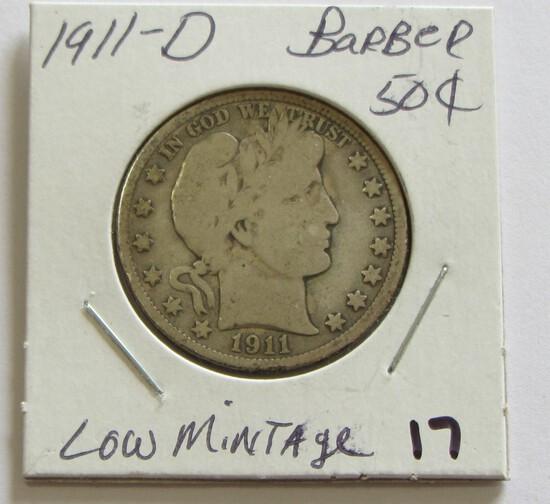 1911-D BARBER HALF LOW MINTAGE