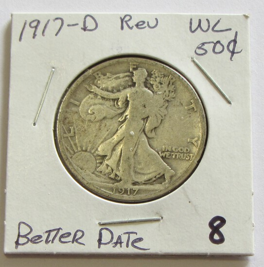 1917-D REVERSE WALKING LIBERTY HALF