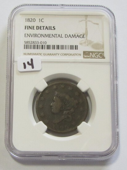 1820 LARGE CENT NGC FINE