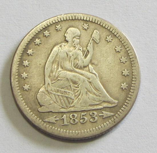 1853 SEATED QUARTER
