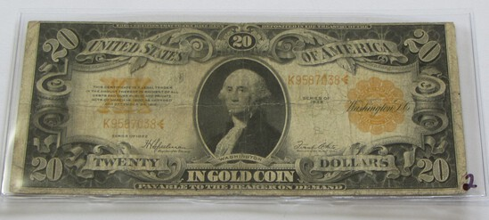 $20 GOLD CERTIFICATE 1922 HIGHLY COLLECTED