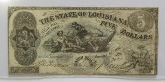 $5 LOUISIANA OBSOLETE CURRENCY 1862