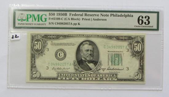 TOUGH $50 1950-B FRN PMG 63