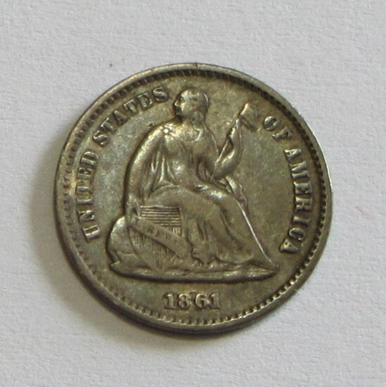 1861 SEATED HALF DIME BETTER GRADE AND DATE