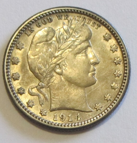 STUNNING 1914 BARBER QUARTER HIGH GRADE