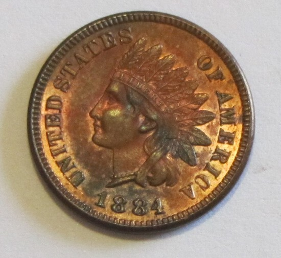UNCIRCULATED GREAT COLOR 1884 INDIAN HEAD CENT
