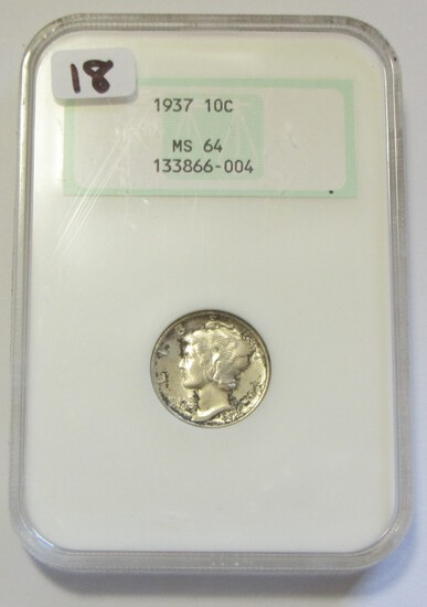 1937 MERCURY DIME OLD FATTY NGC HOLDER 64