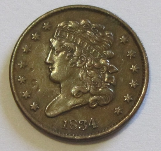 1834 CLASSIC HEAD HALF CENT HIGH GRADE