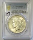 1922 Peace Dollar PCGS UNC Details Gold Shield