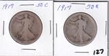 Lot of 2 - 1917 Walking Liberty Half Dollar