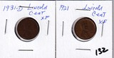 Lot of 2 - 1921 & 1931-D Lincoln Cent XF