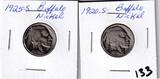 Lot of 2 - 1920-S & 1925-S Buffalo Nickels - Better Dates