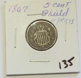 1867 Shield Nickel W/Rays